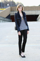 black shearling romwe jacket - black quilted Chanel bag - black asos pants