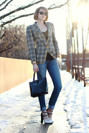 black vintage plaid Ungaro blazer