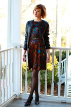 H&M jacket - multicolored Erdem dress - eyelet fishnet Forever 21 tights