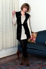 Gray-vintage-jacket-black-h-m-tights-gold-h-m-dress-brown-born-boots