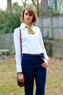 Navy-flares-j-brand-jeans-white-tuxedo-banana-republic-shirt-brown-vintage-l