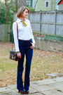 Navy-flares-j-brand-jeans-white-tuxedo-banana-republic-shirt-brown-vintage-l