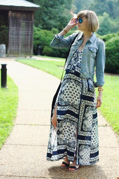 navy maxi dress Boohoo dress - sky blue denim jacket Levis jacket