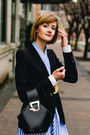 Sky-blue-striped-genuine-people-dress-black-tailored-zara-blazer