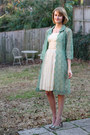 Ivory-lace-vintage-dress-chartreuse-lace-vintage-coat-green-peep-toe-steve-m