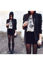 black Bershka jacket - white Secondhand t-shirt - black H&M skirt