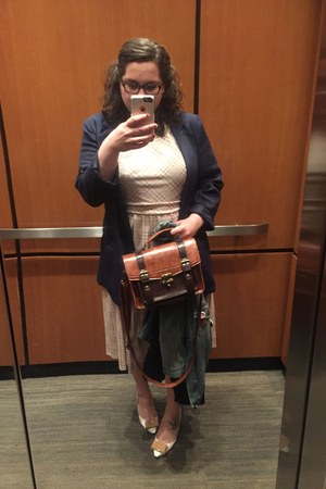 brown fake leather bag - neutral dress - blue blazer