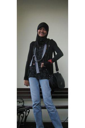 black JoLin jacket - black Chanel purse - black collection t-shirt - gray Teenat