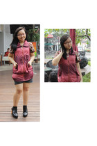 crimson batik keris blouse