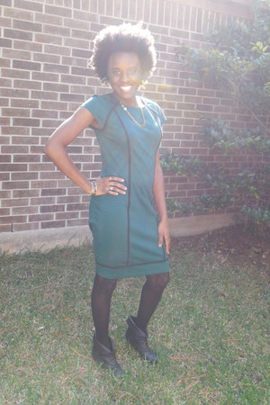 teal ponte dress Mossimo dress - black booties Madden Girl boots