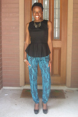 black peplum Mossimo shirt - blue harem pants material girl pants