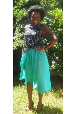 teal high-low skirt Mossimo skirt - black polka dot Forever 21 blouse