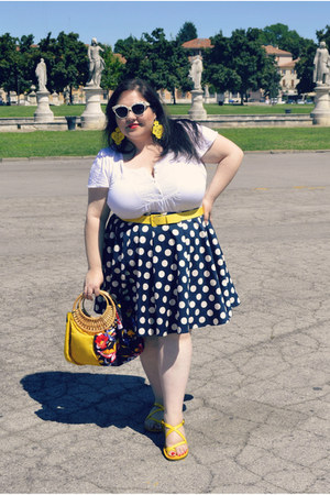navy ASOS Curve skirt - yellow plus size fiorella rubino belt