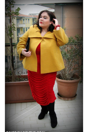mustard Agenda jacket - black ankle boots Evans boots - red IGIGI dress