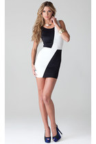 Color Block Black And White Sleeveless M Dresses
