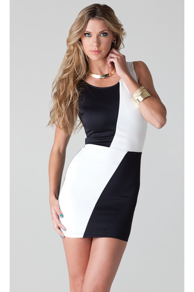 Color Block Black and White Sleeveless M dress