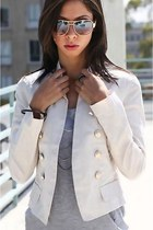 White Blazer Gold Buttons | Chictopia
