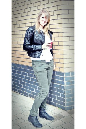 faux leather H&M jacket - Stylist Pick boots - new look jeans - asos blouse