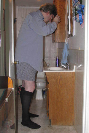 gray dress shirt shirt - gray boxers shorts - black socks