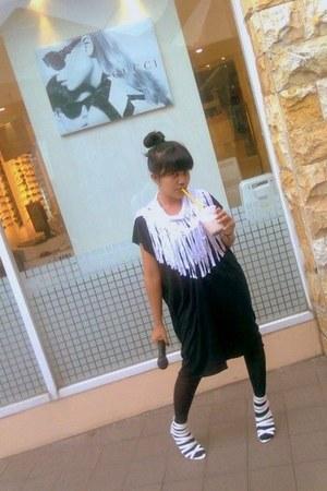 white fringed scarf - black sheer dress - black tights - white heels