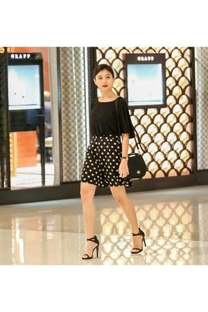 black suiteblanco bag - black asos shorts - black asos top - black Zara heels