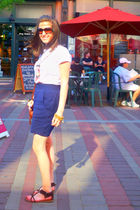 blue Forever21 skirt - white Forever21 shirt - brown American Eagle shoes - gold