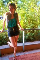 blue Mango shorts - green Forever 21 shirt - gray Forever 21 vest - silver bouti