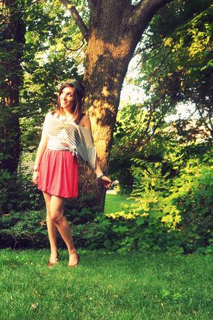 gray Forever21 shirt - brown BCBG shoes - pink Forever21 skirt