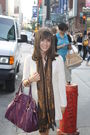 Beige-urban-outfitters-dress-brown-parisian-boutique-scarf-purple-mandees-ba
