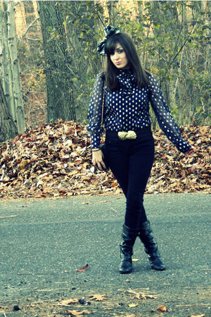 navy thrifted vintage blouse - black Forever 21 jeans - black payless jeans - bl