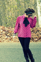hot pink thrifted vintage blouse - black Forever 21 pants - black payless boots