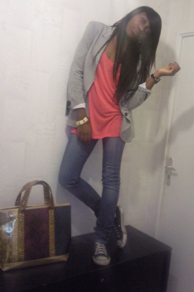 Zara blazer - H&amp;M shirt - Zara jeans - Converse - Marc by Marc Jacobs accessorie