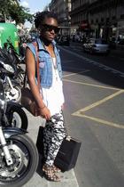 black shoes - white American Apparel shirt - blue vintage vest - H&M - - glasses