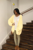 yellow vintage cardigan - white H&M t-shirt