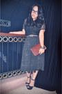 Brown-vintage-emporio-armani-purse-black-platform-steve-madden-heels