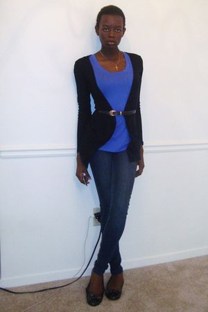 black Boohoo cardigan - black Payless shoes - Blue Asphalt jeans