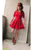 red Zara dress - becky bloomwoods wardrobe socks