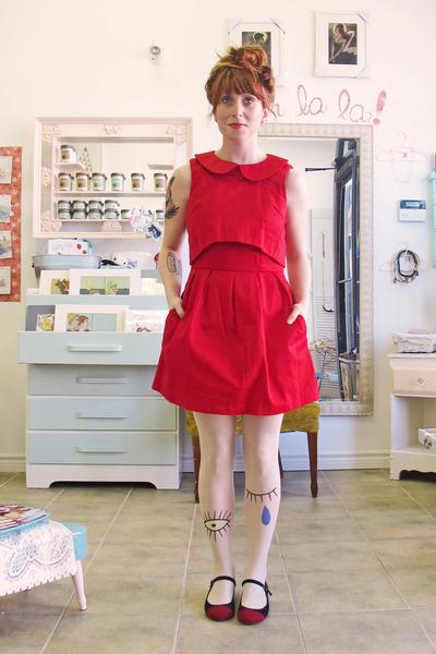 red asos dress - black modcloth flats