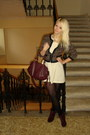 Eggshell-monteau-dress-black-h-m-blazer-maroon-h-m-bag