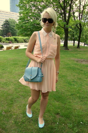 peach H&amp;M dress - light blue OASAP bag - black Gucci sunglasses