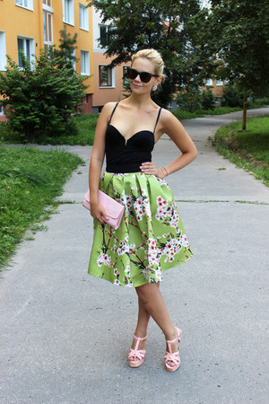 lime green Sheinside skirt - light pink elle bag - dark brown c&a sunglasses