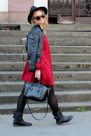 black OASAP hat - brick red OASAP dress - black H&M jacket - black OASAP bag