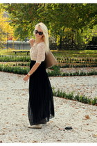 black Orsay skirt - tan F&F bag - black Gucci sunglasses - light pink H&M top