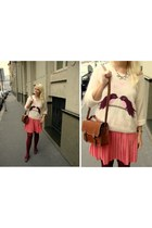 salmon Secondhand skirt - peach H&M sweater - dark brown OASAP bag