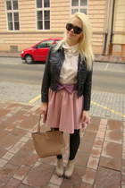light pink Katrus skirt - black vintage jacket - white Sisley shirt
