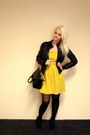 Yellow-club-l-dress-black-h-m-jacket-black-oasap-bag