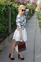 crimson OASAP bag - black Gate sunglasses - white Zara skirt - crimson F&F heels
