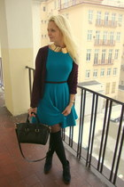 black OASAP bag - teal Zara dress - maroon H&M sweater - black New Yorker wedges