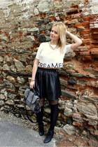 white Bershka top - heather gray OASAP bag - black New Yorker skirt