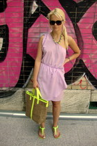 light brown F&F bag - light purple asos dress - dark brown Zara sunglasses